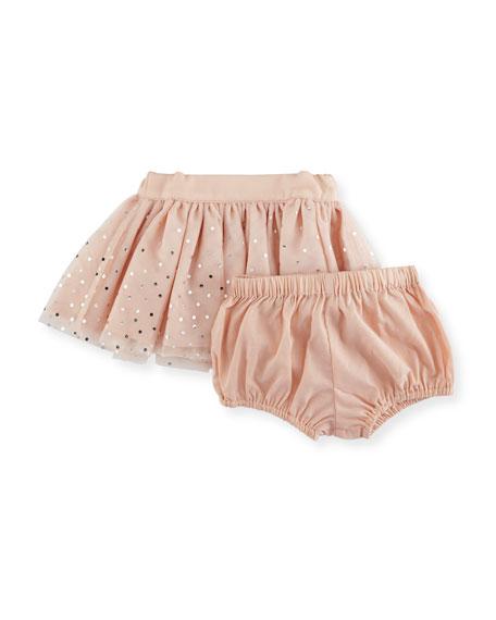 Honey Metallic Polka-Dot Tulle Skirt, Size 12-36 Months