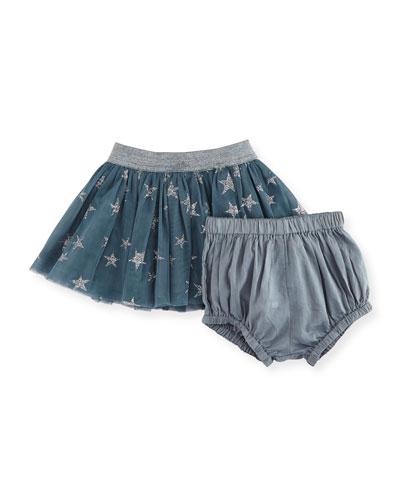 Honey Glittered Star-Print Tulle Skirt w/ Bloomers, Size 12-36 Months