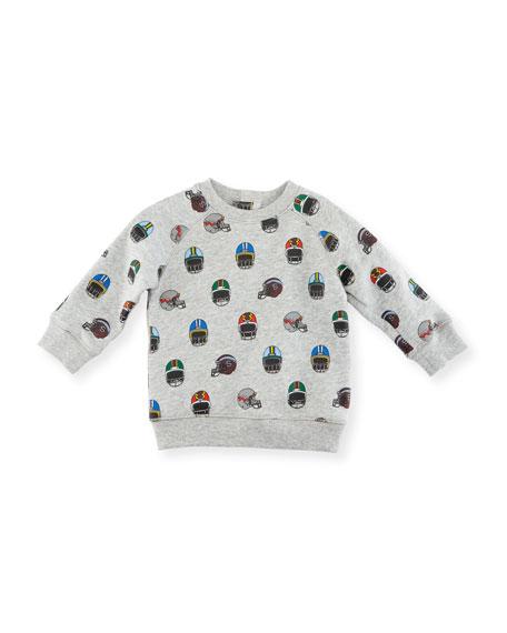 Billy Allover Helmet-Print Sweatshirt, Size 12-36 Months