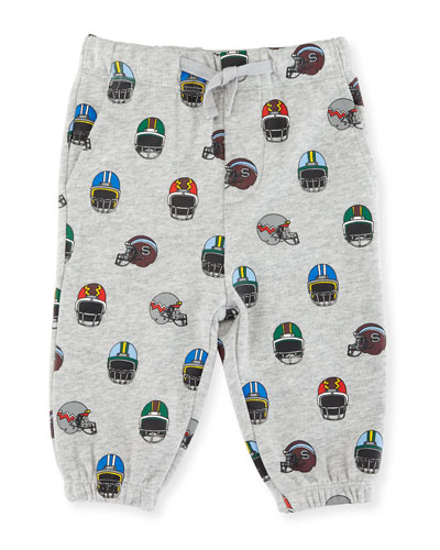 Loopie Helmet-Print Sweatpants, Size 12-36 Months