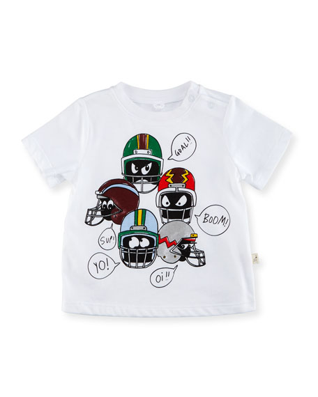 Stella McCartney Chuckle Short-Sleeve Helmet Graphic Tee, Size