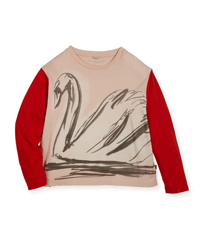 Farah Swan Sketch Tee w/ Contrast Long-Sleeves, Size 4-14