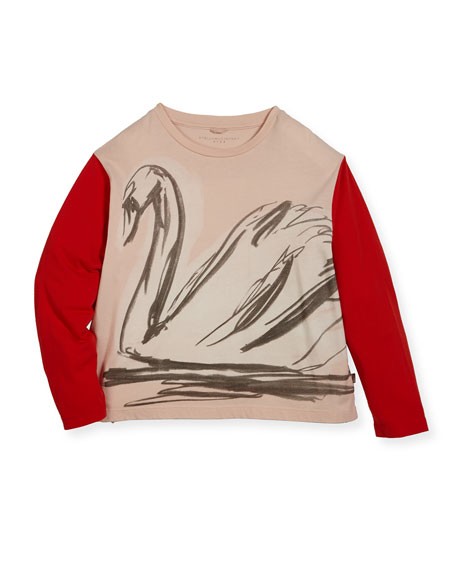 Stella McCartney Farah Swan Sketch Tee w/ Contrast