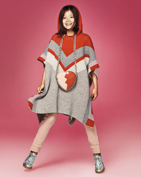Bianca Hooded Wool Poncho, Size 4-14