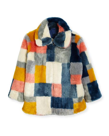 Stella McCartney Abbie Faux-Fur Colorblock Jacket, Size 4-14