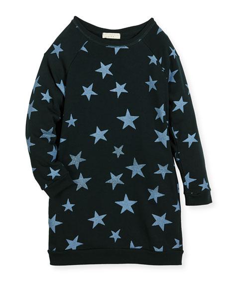 Leona Star-Print Fleece Dress, Size 4-14