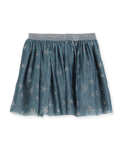 Honey Glittered Star-Print Tulle Skirt, Size 4-14