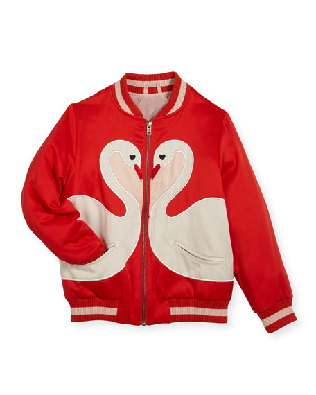 Willow Swan Bomber Jacket, Size 4-14