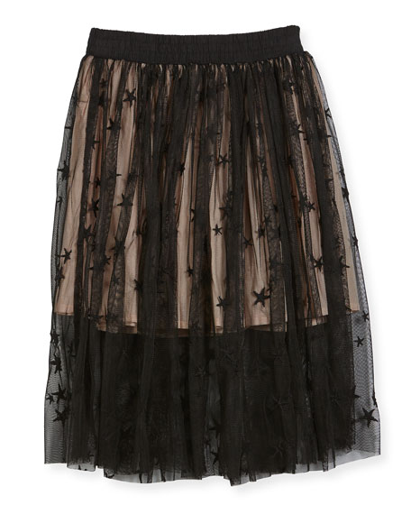 Amalie Star-Print Tulle Skirt, Size 4-14