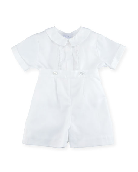 Parker Two-Piece Short-Sleeve Christening Suit Set, Size 0-24 Months