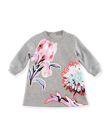 Kenzo Big Flower Sweater Dress, Gray, Size 12-18M