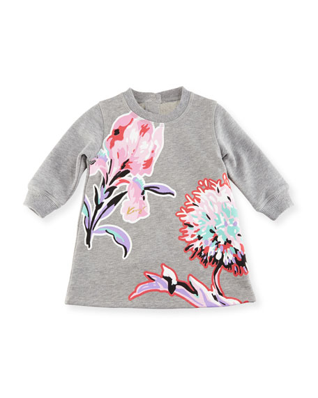 Kenzo Big Flower Sweater Dress, Gray, Size 2-3Y