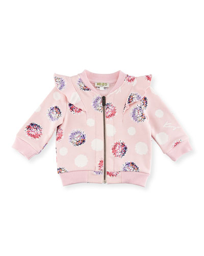 Floral Pompom Zip Jacket, Light Pink, Size 2-3Y