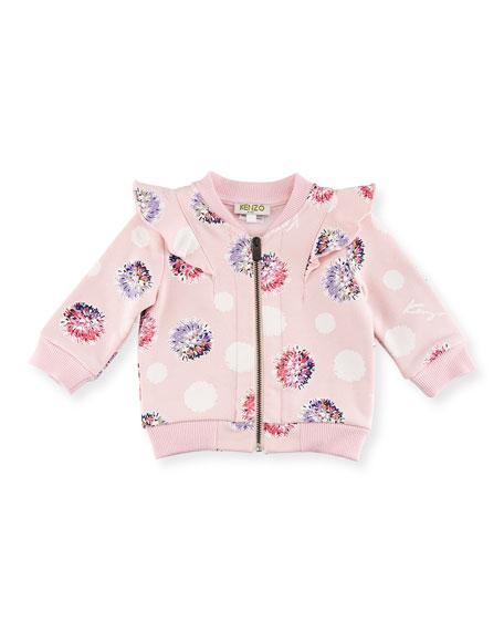 Kenzo Floral Pompom Zip Jacket, Light Pink, Size