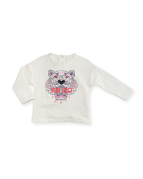 Kenzo Long-Sleeve Tiger Tee, Off White, Size 12-18