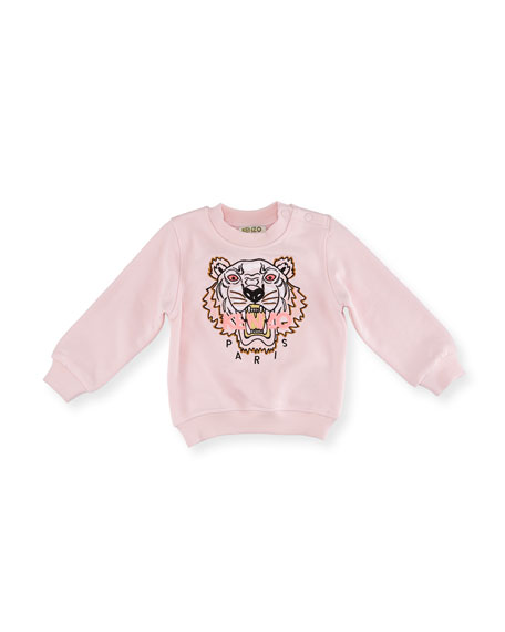 Kenzo Tiger Embroidered Sweater, Light Pink, Size 12-18