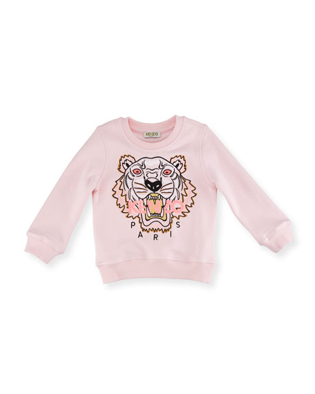 Tiger Embroidered Sweater, Light Pink, Size 2-3