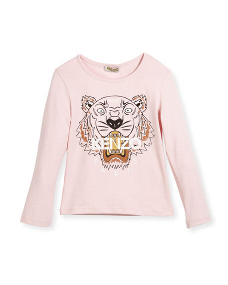 Kenzo Long-Sleeve Tiger Logo T-Shirt, Pink, Size 8-12