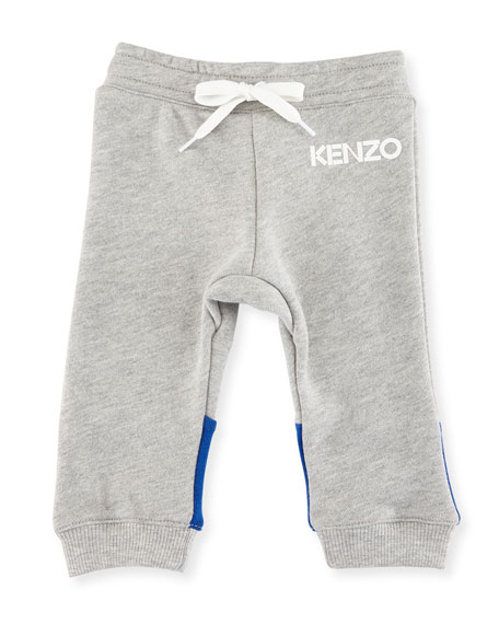 Kenzo Logo Drawstring Sweatpants, Gray, Size 12-18M and