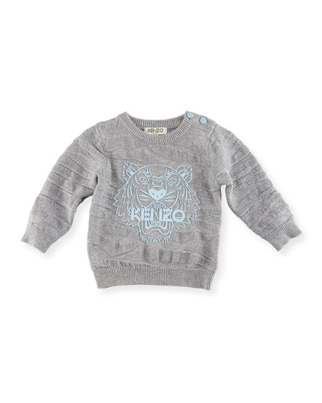 Knit Tiger Pullover Sweater, Gray, Size 12-18M