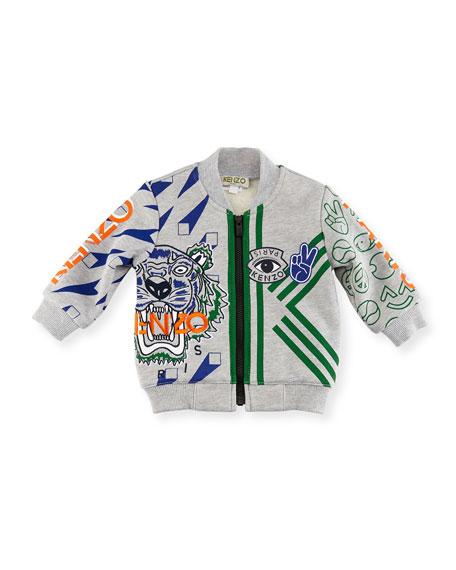 Logo Allover Tiger Jacket, Gray, Size 2-3Y