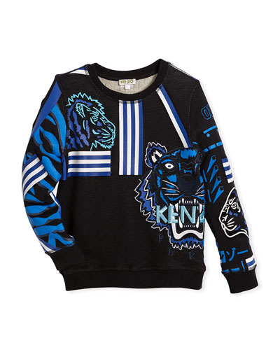 Long-Sleeve Logo Tiger Sweatshirt, Size 8-10