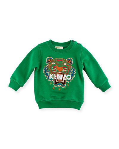 Tiger Embroidered Sweater, Green, Size 4-6