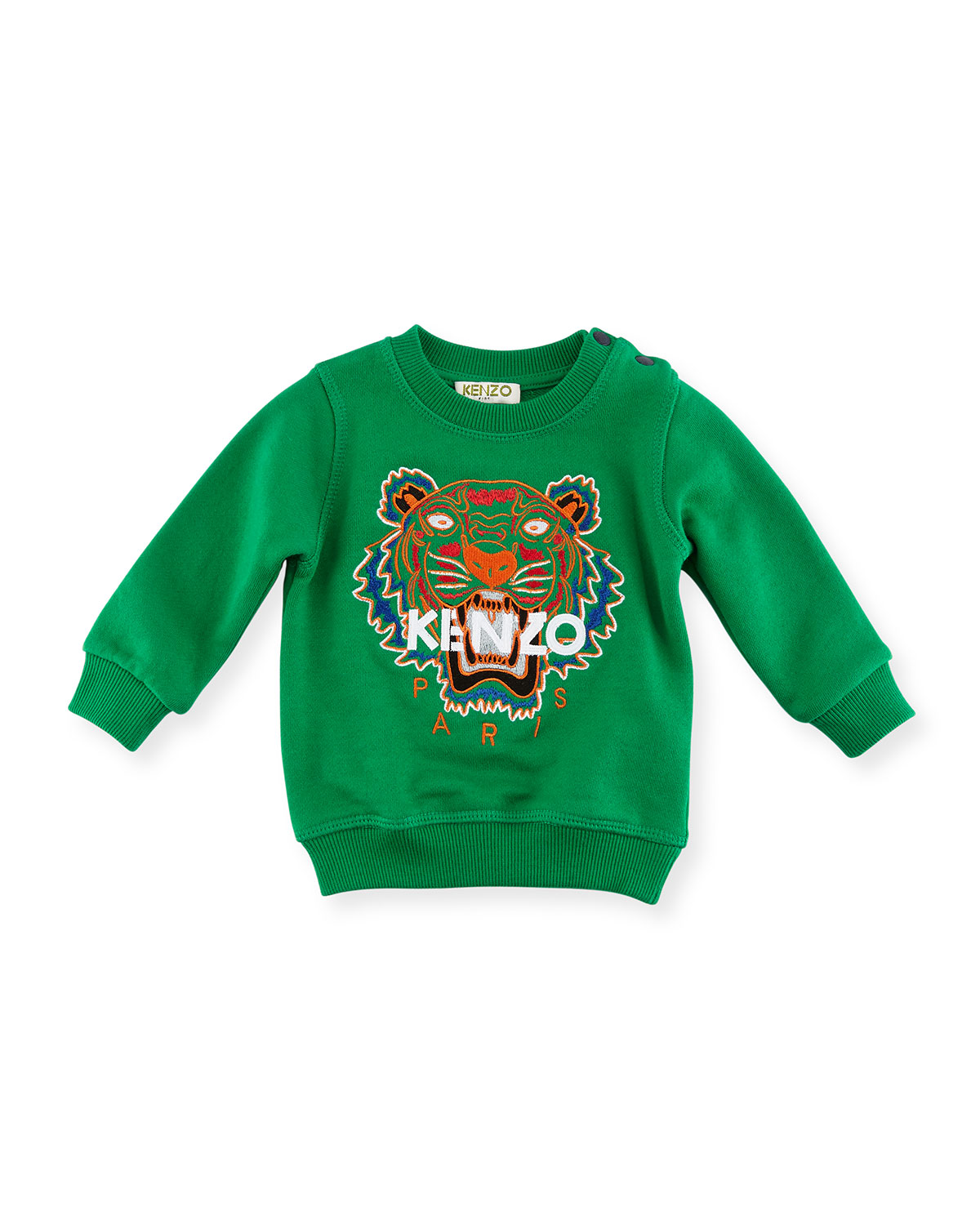 713e2539 Kenzo Tiger Embroidered Sweater, Green, Size 8-12 | Neiman Marcus