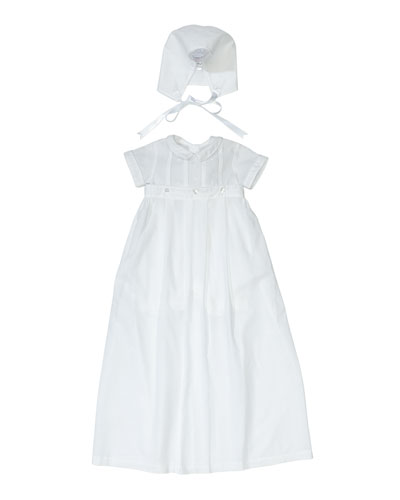 Brayden Short-Sleeve Convertible Christening Gown/Coverall