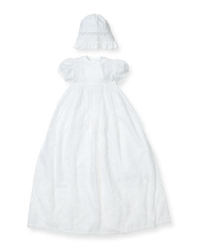 Victoria Short-Sleeve Christening Gown Set, Size 0-18 Months