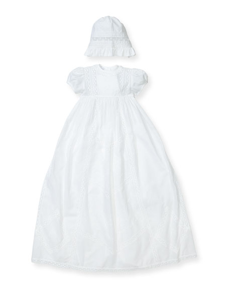 Kissy Kissy Victoria Short-Sleeve Christening Gown Set, Size