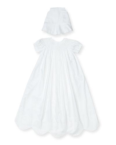 Caroline Short-Sleeve Christening Gown Set, Size 0-18 Months