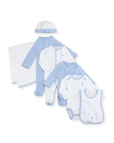 Ralph Lauren Childrenswear 7-Piece Boxed Layette Set, Blue,
