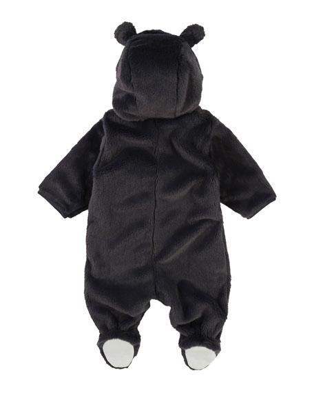 MTV Logo Faux-Fur Footie Bodysuit, Size 3-9 Months