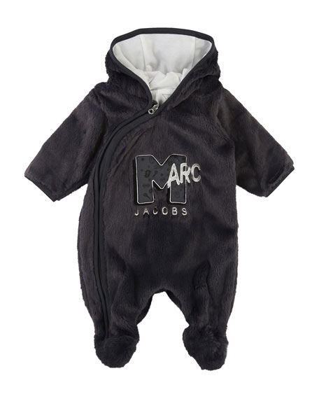 Little Marc Jacobs MTV Logo Faux-Fur Footie Bodysuit,