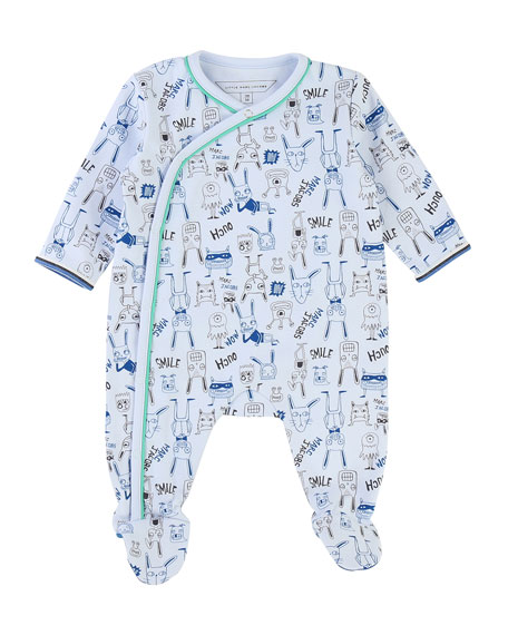 Little Marc Jacobs Allover Cartoon-Print Footie Pajamas, Size