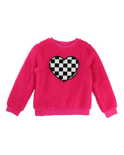 Soft Faux-Fur Heart Illustration Sweater, Size 4-5