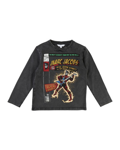 Long-Sleeve Superhero Faded Tee, Size 6-10