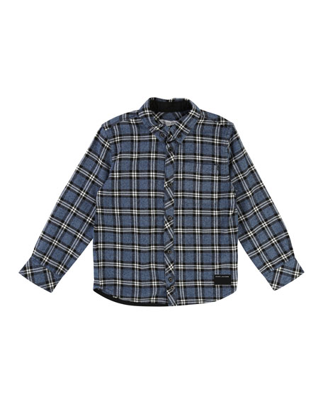 Little Marc Jacobs Long-Sleeve Flannel Shirt, Size 4-5