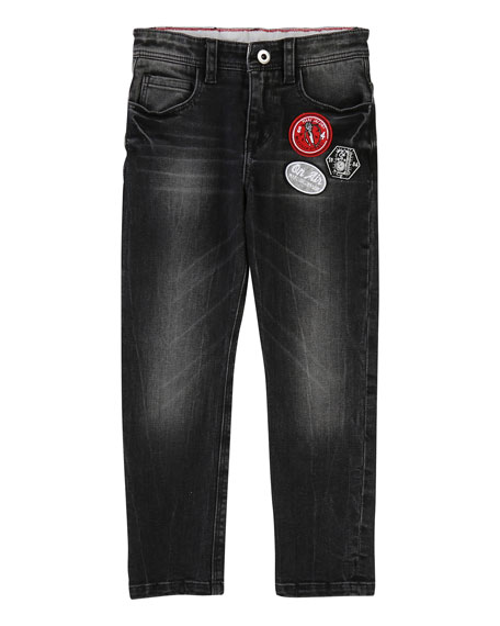 Little Marc Jacobs Faded Denim Trousers w/ Badges,