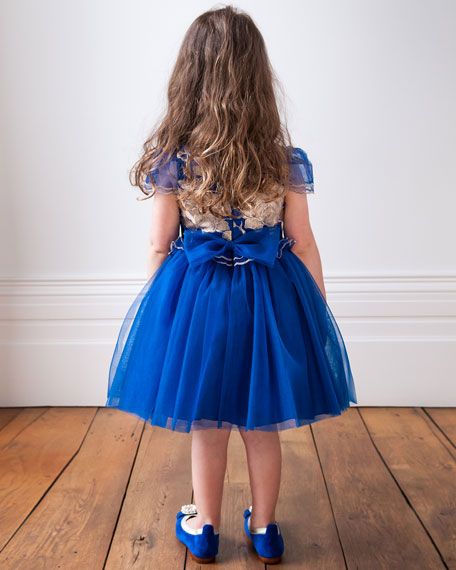 Tulle Dress w/ Rose Embroidery, Size 3-6