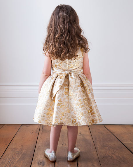 Pleated Floral Brocade Dress, Size 3-6