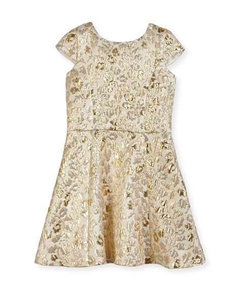 David Charles Floral Jacquard Cap-Sleeve Dress, Size 8-16