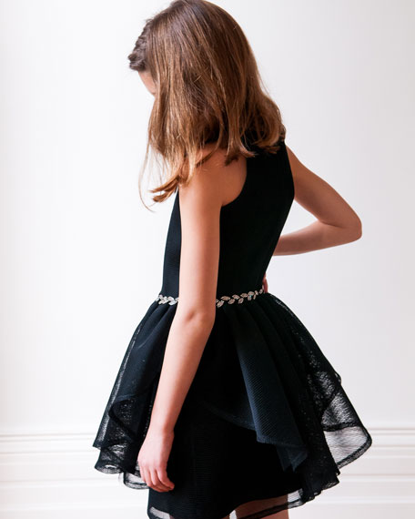Sleeveless Mesh Peplum Dress w/ Rhinestone Belt, Black, Size 8-16