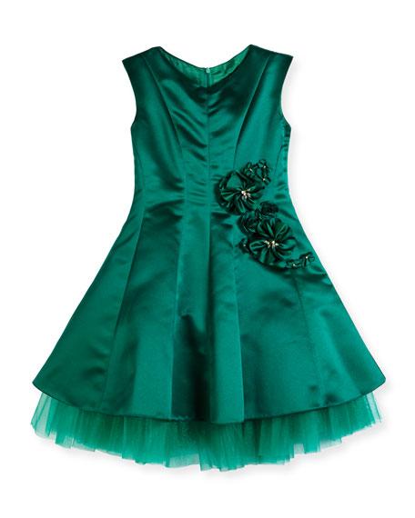 David Charles Satin Princess-Cut Dress w/ Exposed Tulle,