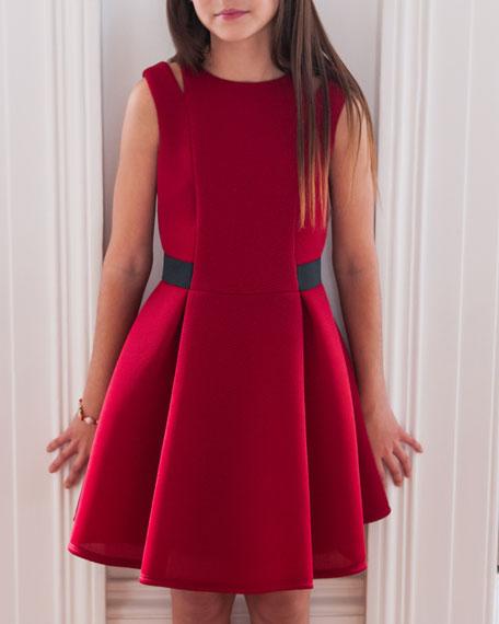 Lattice Mesh Dress w/ Shoulder Cutouts, Red, Size 8-16