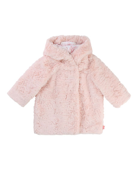 Billieblush Faux-Fur Hooded Coat, Size 2-3
