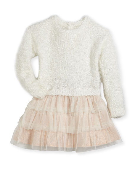 Billieblush Drop-Waist Sweater Tulle Dress, Size 2-3 and