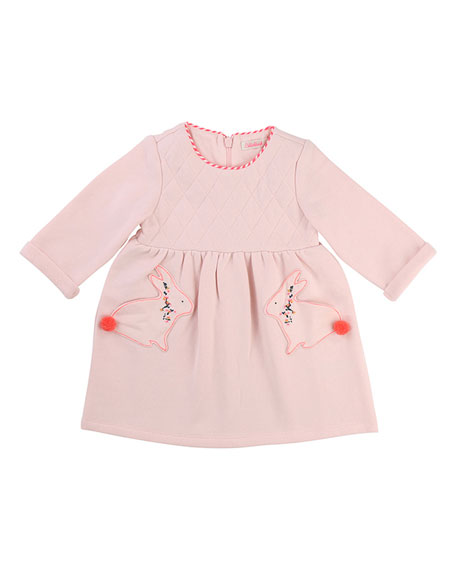 Billieblush Quilted Dress w/ Rabbit Pockets, Size 2-3