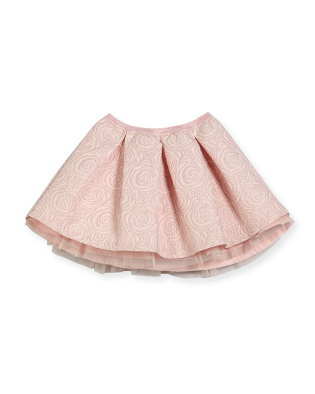 Billieblush Jacquard Rose-Print Skirt, Size 4-8